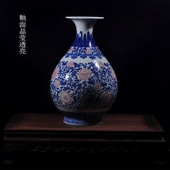 Quality antique handmade blue and white porcelain vase ceramics flower decoration home decoration
