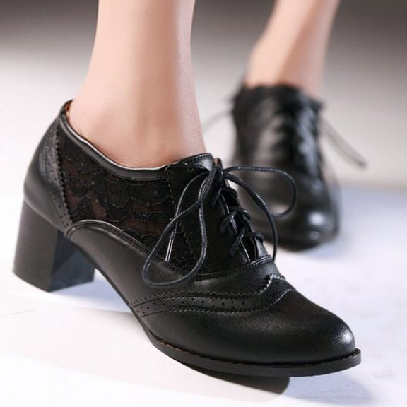 Mid Heel Lace Up Shoes - Qu Heel