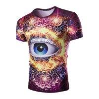 Fashion 3D Design Eye Pattern Printed Men 3d T Shirt 2017 Summer Casual O Neck Male