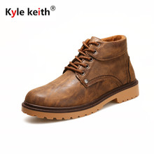 Kyle Keith New Men Boots Leather Ankle Boots Mens Fashion Shoes Autumn Winter Lace Up Booties Waterproof Rain Boots Size 39-44