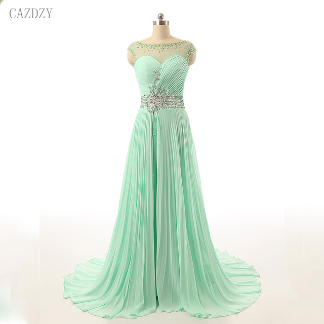 CAZDZY Mint Green O Neck Sleeveless A Line Prom Dresses Floor Length  Crystal Beaded Chiffon Women Dress Vestido De Festa 2018 5ff3d78c8dc8