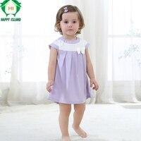 행복한 섬 슈퍼 100% 폴리 에스테르 여름 신생아 아기 드레스 만화 아기 소녀 활 캔디 컬러 공주 드레스 어린