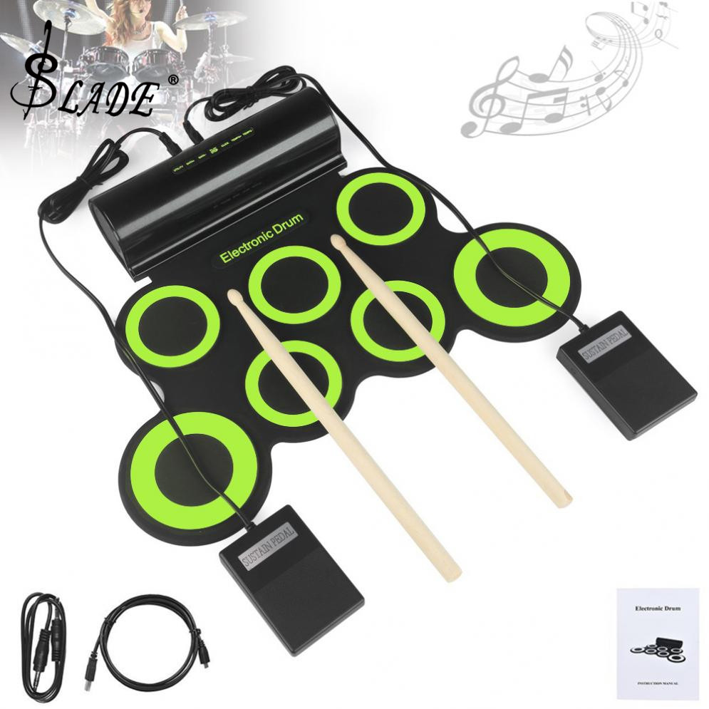 SLADE Portable Electronic 7 Silicon Pads Built-in Speakers With Drumsticks Sustain Pedal Support USB MIDI 2 Colors Optional