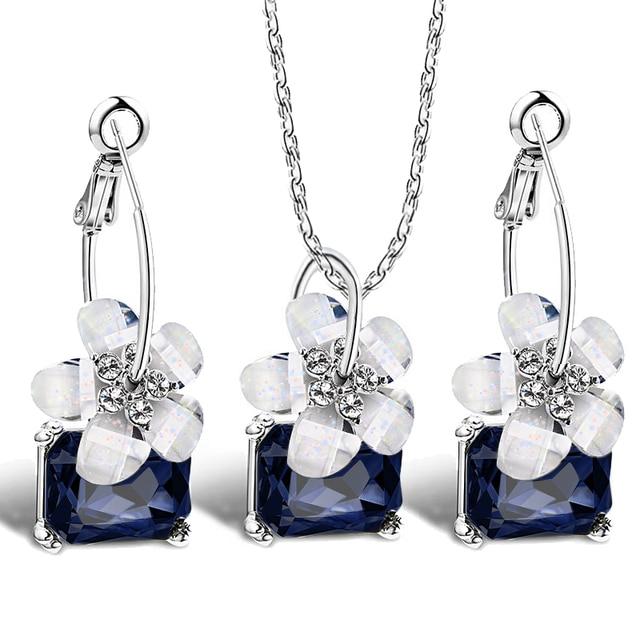 Романтический изысканные невесты Наборы для ухода за кожей синий кристалл красочные белый цветок ожерелье большой уха серьги-кольца комплект ювелирных изделий для женщин Свадебные Bijoux