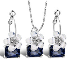 Romantic fine bride Sets blue crystal colorful white flower necklace big Ear ring earrings Jewelry Set for women Wedding Bijoux(China)