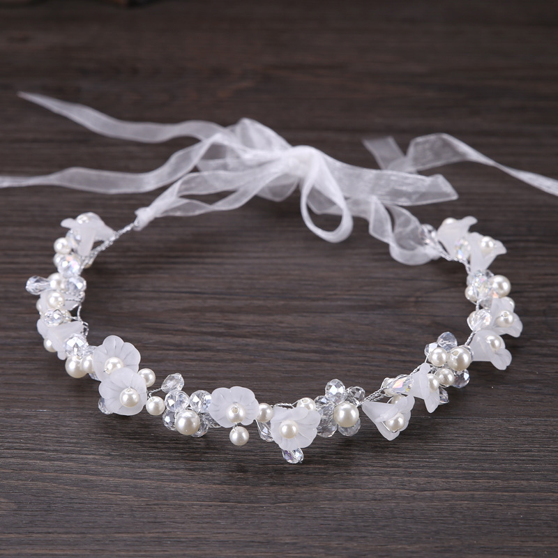 Metting Joura Wedding Bridal White Beads Pearl Headbands Flower Hairband  For Women Girls Party Hair Accessories metting joura vintage bohemian ethnic tribal flower print stone handmade elastic headband hair band design hair accessories