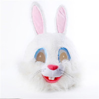 Plush Easter Rabbit Head Mask Halloween Rabbit Mascot Costume Christmas