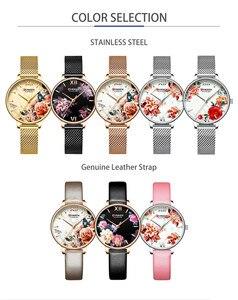 Image 3 - CURREN Frauen Uhr Top Marke Luxus Schwarz Weibliche Wasserdichte Uhr Mesh Edelstahl Armband Blume Damen Armbanduhr 9060