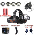 2016NEW The Newest Headlight 6000 Lumens 3x C-XM-T6  LED High Power Head light Headlamp Lamp +USB Cable +Charger FREE SHI