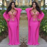 アフリカの女性のドレスエレガントなピーチイブニングマキシドレス人魚のガウンバットウィング袖アフリカ長いローブ床長さのクリスタルドレス
