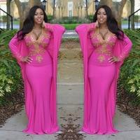 African women dress elegant peach evening maxi dress mermaid gown batwing sleeves africa long robe floor length crystal dresses