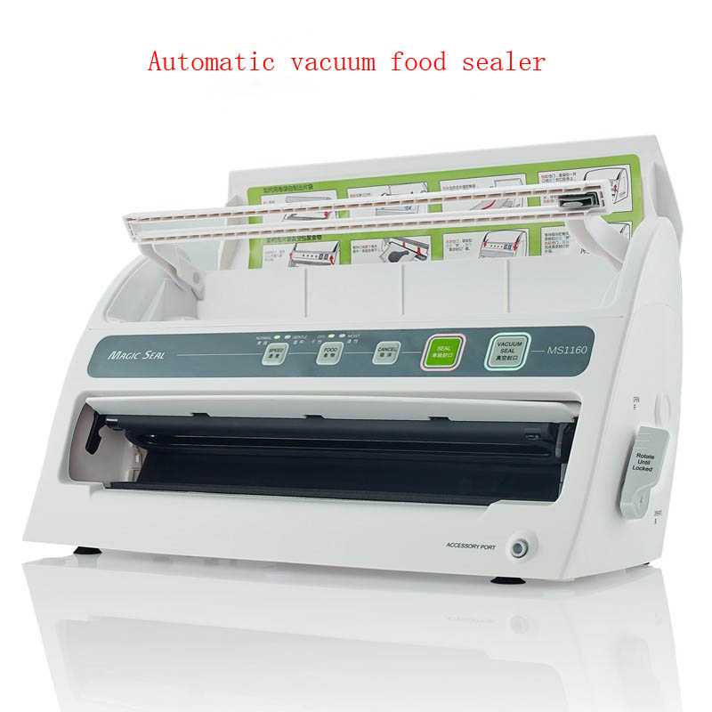 1pc Automatic Dry+Wet Vacuum Food Sealer, Household Food Preservation, Multi-function Vacuum Film Sealing Machine MS1160 automatic wet dry oil powder food vacuum sealer household food preservation machine multi function vacuum sealing machine