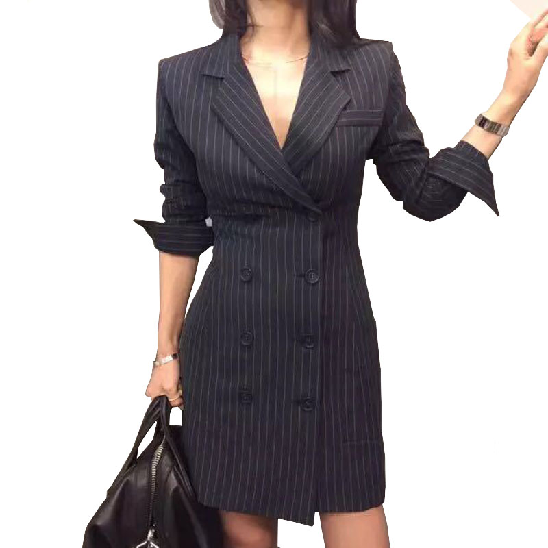 2018 Spring Office Ladies Blazer Dress Sexy Double Breasted Royal Blue Striped Business Dress Long Sleeve Chic Female Work Wear