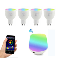 GU10 4W RGBW Lamp 85 265V LED Milight RGB Bulb Spotlight Light Wireless WiFi Remote Controller