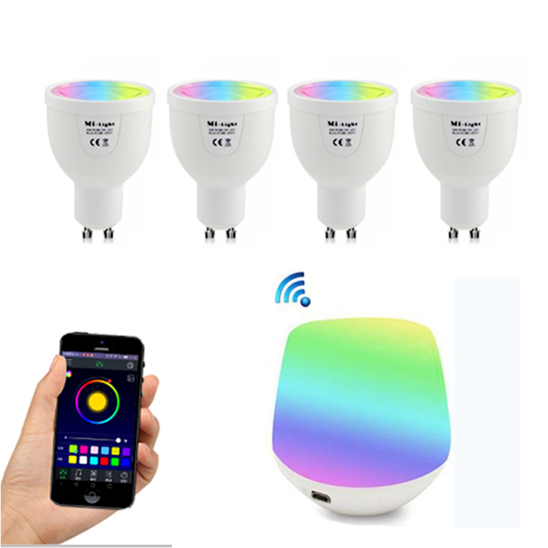 GU10 5W RGBW Lamp 85-265V LED Milight RGB Bulb Spotlight light + Wireless WiFi Remote Controller Box For Party Lighting milight 5w gu10 dual color temperature led bulb spotlight without remote