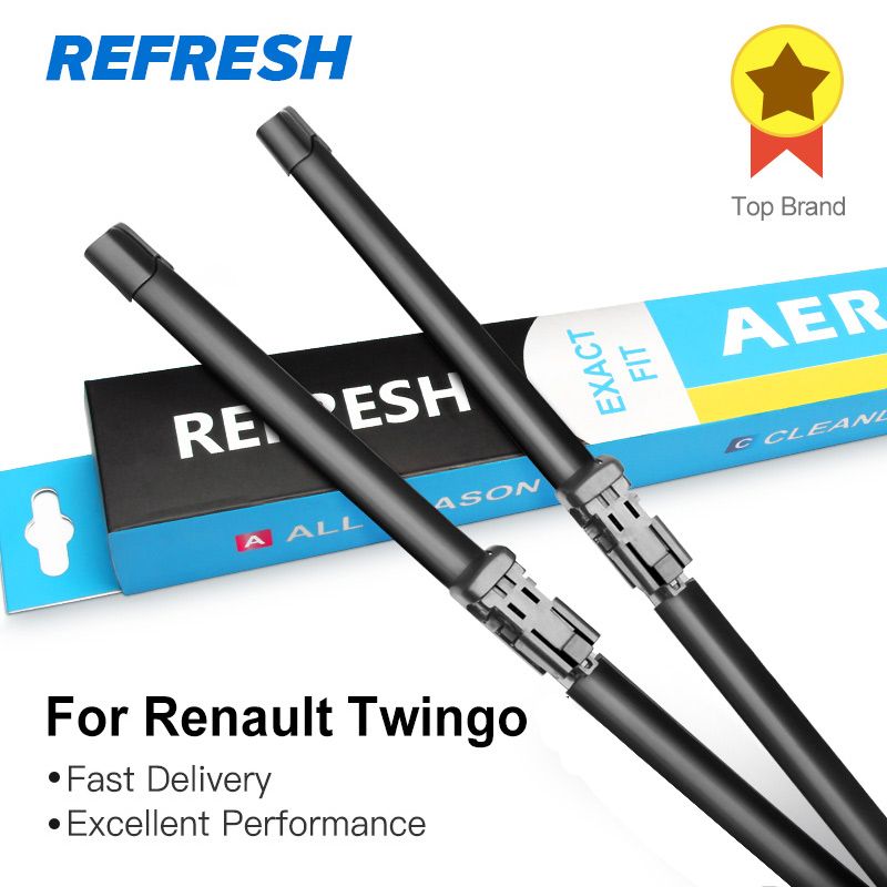 REFRESH Wiper Blades for Renault Twingo Fit Push Button / Bayonet Arms Model Year from 2007 to 2018