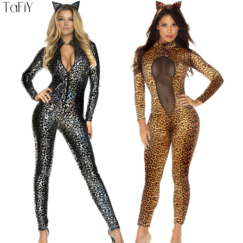 Tafiy 2017 Womens Sexy Catwoman Outfit Leopard Cat -1160