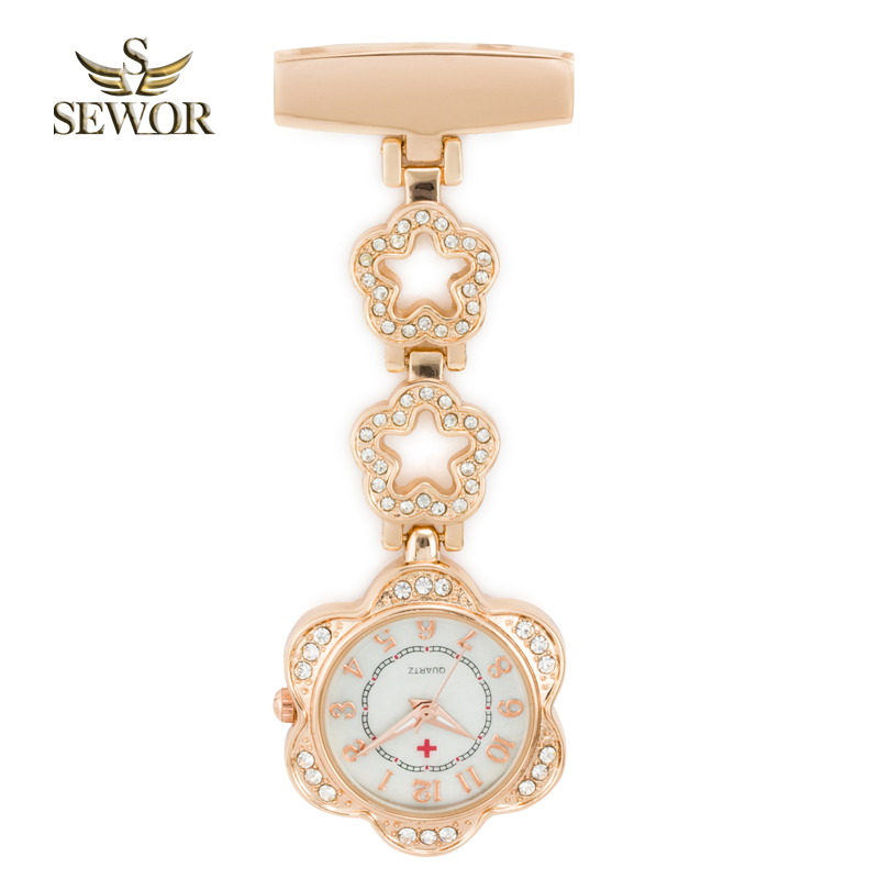 SEWOR 2019 Luxury Dames Quartz Nurse Pendant horloge Chic Five star Stainless Steel Crystal Pocket Watches Ladies Favorite C183