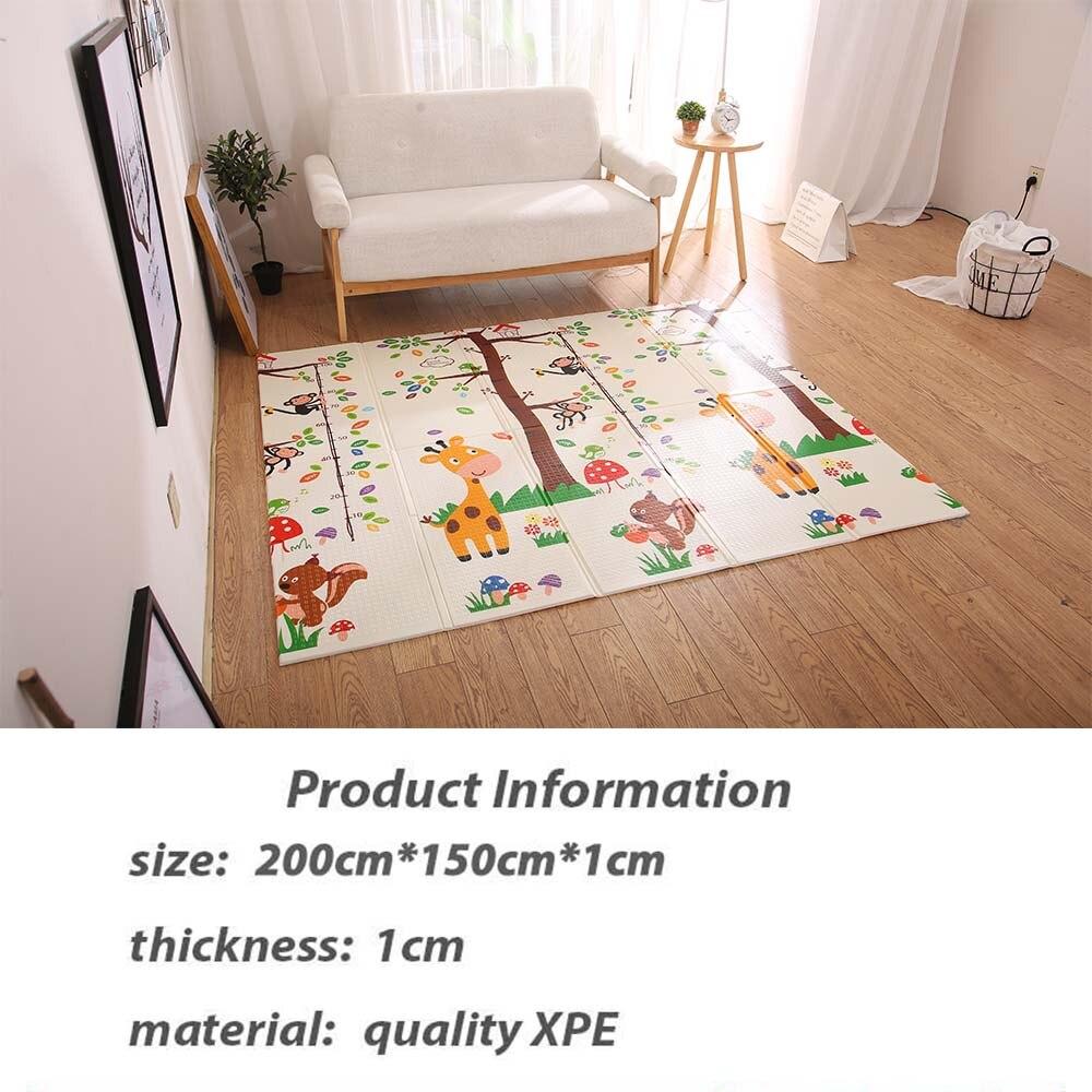 Infantile brillant pliable bébé tapis de jeu pliant ramper Pad XPE bébé chambre tapis enfants tapis de sol 200*150 cm tapis de jeu pour les nourrissons - 3