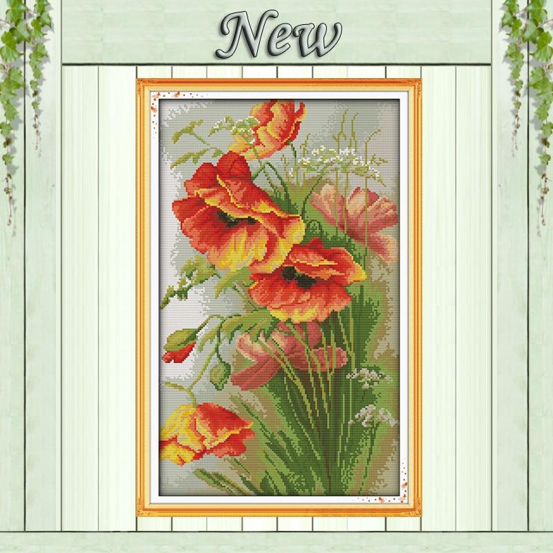 Hermosa flor Amapola, patrón 11CT en el lienzo DMC 14CT kits de punto de cruz, bordado de costura para conjunto, manualidades DIY decoración del hogar