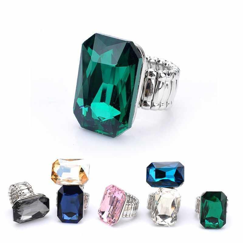 บุคลิกภาพ Elegant Big แหวนสำหรับสตรี 7 สีขนาดใหญ่แก้วหินแฟชั่นยืดแหวนนิ้วมือเครื่องประดับคริสต์มาสของขวัญ 2018