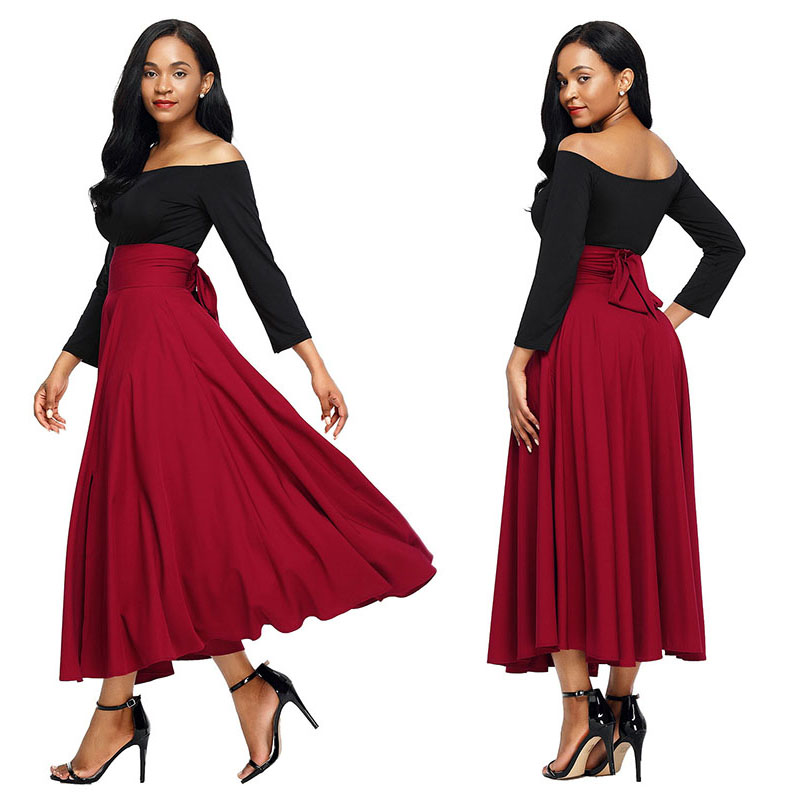 Red-Retro-High-Waist-Pleated-Belted-Maxi-Skirt-LC65053-3-3