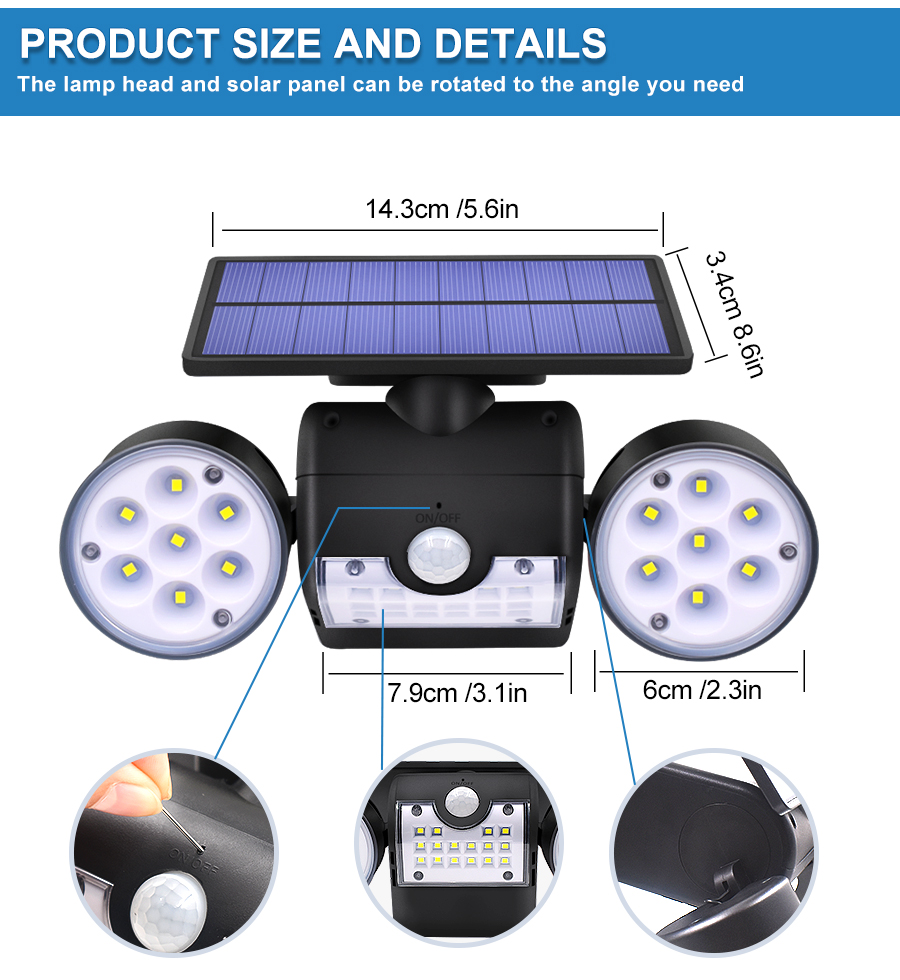 Dual Headed and Waterproof Solar Outdoor Light with 30 Adjustable Angled LED Lights for Garden and Street 8