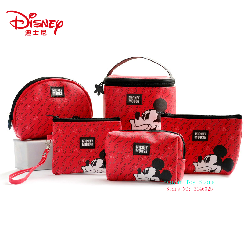 Genuine Disney Red PVC Mickey Multi-function Women Bag Cosmetic Wallet Purse Bag Fashion Mummy Handheld  For Girls Gifts