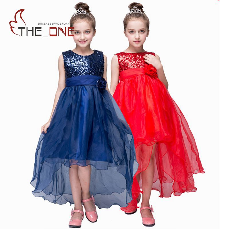 Girls Princess Party Flower Lace Dress Girl Summer Wedding Dress Children Sequined Evening Dresses Floor Length Clothing T141 girls princess party dresses children flower bow floor length lace tutu dress kids girl train wedding dress costume clothing