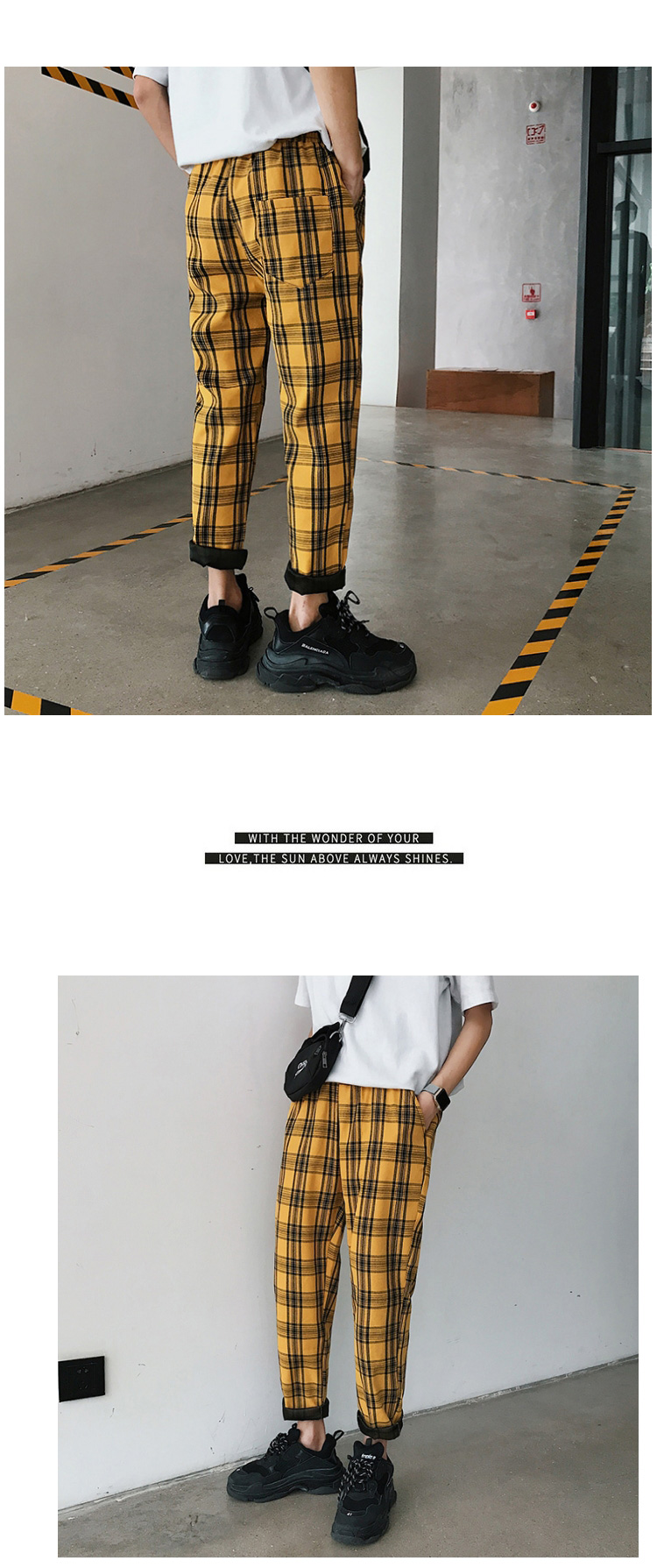 LAPPSTER Streetwear Yellow Plaid Pants Men Joggers 19 Man Casual Straight Harem Pants Men Korean Hip Hop Track Pants Plus Size 5