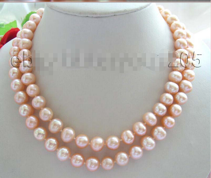 36 Genuine Natural 11mm Pink Round Pearl Necklace ! NEW