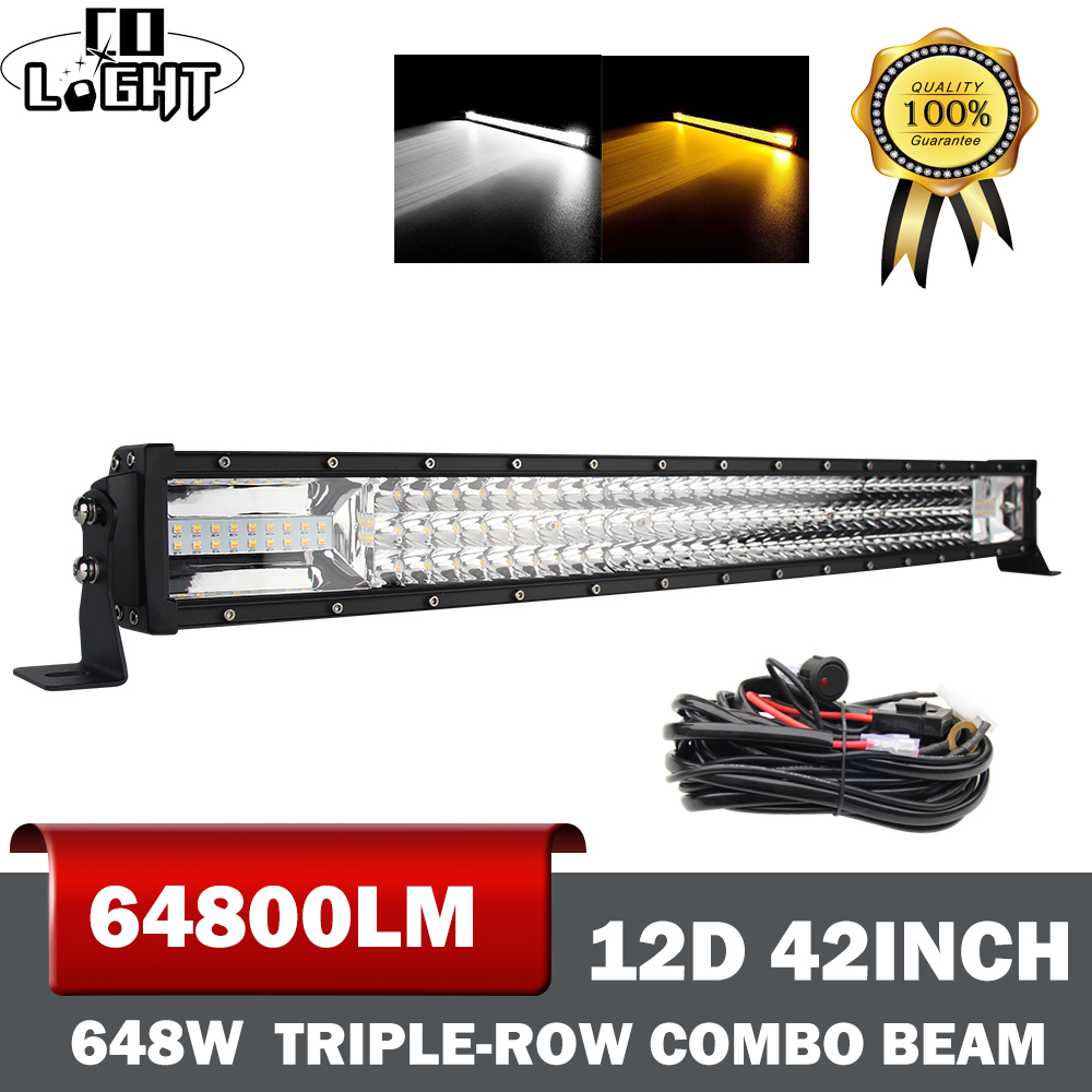 CO LIGHT 42 Inch Led Light Bar Curved 648W 12D Strobe Led Bar Spot Flood For Trucks Car Tractors 4X4 ATV Lada Driving Fog Lights