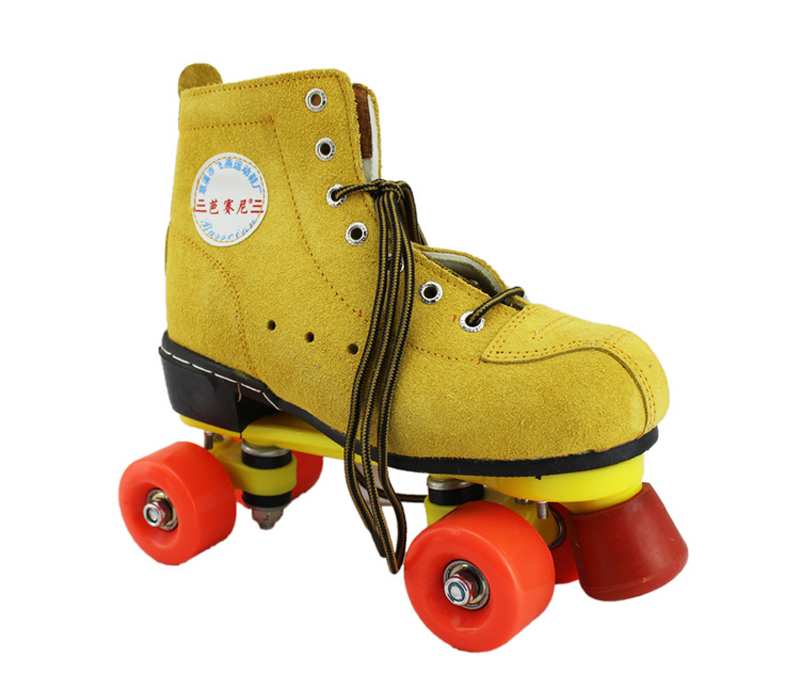 Women Female Double Line Adult Indoor Quad Parallel Skates Shoes Patines Boots 4 Wheels PU With Brake Wear-Resisting YellowWomen Female Double Line Adult Indoor Quad Parallel Skates Shoes Patines Boots 4 Wheels PU With Brake Wear-Resisting Yellow