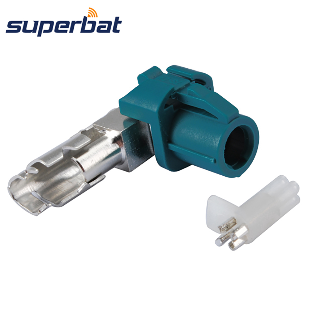 Superbat Car HSD Fakra Z Waterblue Crimp Female Jack 90 Deg Right Angle RF Coaxial Connector For Cable Dacar 535 4pole