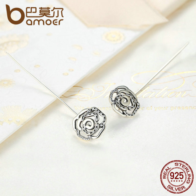 Sterling Silver 5.5 CM Long Rose Flower Drop Earrings