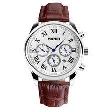 Business man s Watches Casual Fashion Calendar Double Time Date Week display Leather Strap Quartz Watch