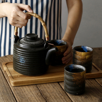 Japanese Style Beam Pot One Pot Four Cups Simple Ceramic Office Home Tea Set Teacup Acacia Wood Tea Tray