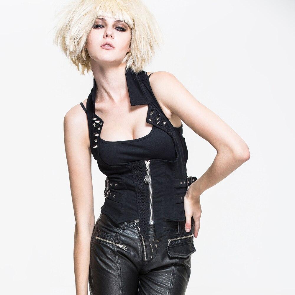 cceff857eb30 2017 Primavera Estate Steampunk Gothic Donne Cotone Corsetto Gilet Nero  Senza Maniche Sexy Backless Halter Gilet