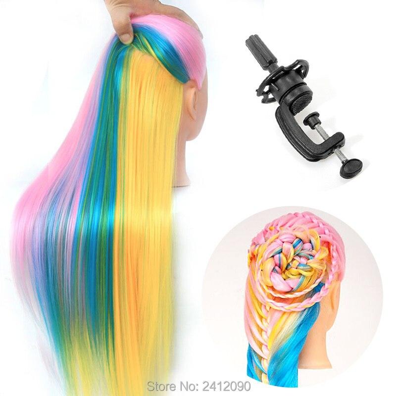 Tête de Mannequin de coiffeur coloré 22 ''Yaki Mannequins de cheveux femmes Mannequin poupée factice tête de perruque tête de style professionnel + pince