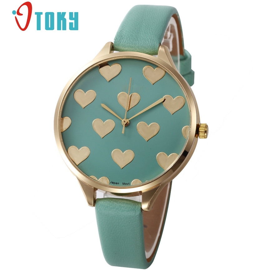 OTOKY Love Hearts Ladies Watches Leather Strap Geneva women Quartz Wristwatch Casual Fas ...