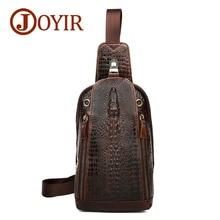 JOYIR New Fashion Genuine Leather Men Chest Bags Alligator Vintage Crossbody Famous Brand Small Mens Messenger Bag