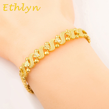 Ethlyn Wholesale women romantic Heart  bracelet jewelry gold color  Dubai/Ethiopian/African women gift  jewelry  B011