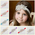 1PCS Retail Cute Kids Baby Girls headbands Rhinestone flowers with leaves Headbands children hair accessories