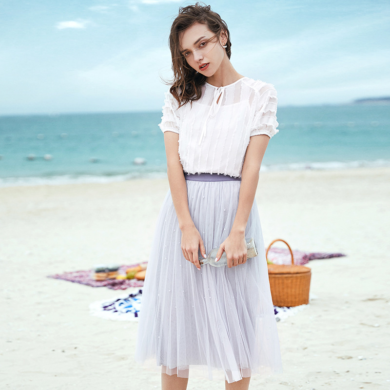 Mesh stitching pleated skirt  Spring Sweet Fairy High Waist Slim Princess Irregular Lace Stitching skirt