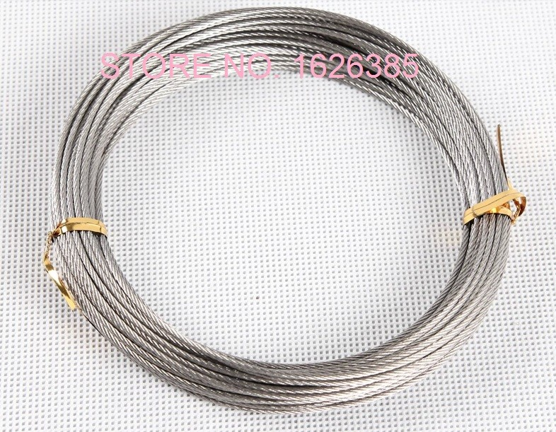 SET 10m wire rope stainless steel strand:7x19 5mm many sizes avaliable many sizes avaliable 4 clips
