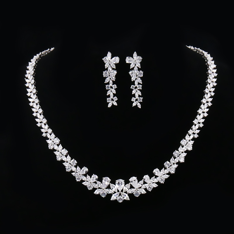 WEIMANJINGDIAN Brand Floral Design Necklace and Earrings Cubic Zirconia CZ Crystal Bridal Jewelry Sets for Women simple satin and floral print design slippers for women