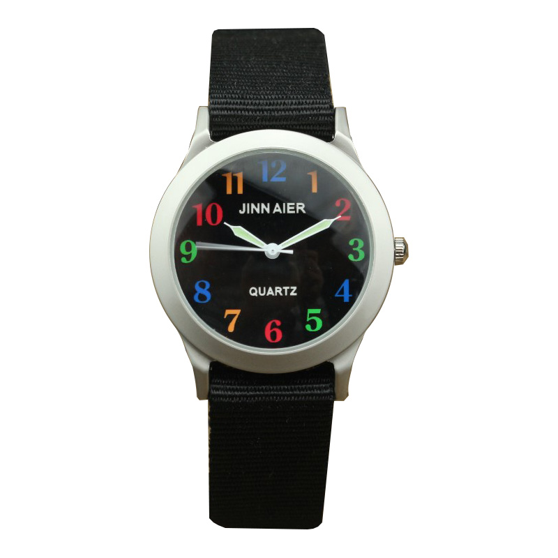 Lovely Colour Scale Kids Simple Dial Easy Learn Time Quartz Watch Middle And Little Children Luminous Pointer Causal Nylon Clock