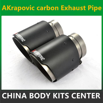 One Pair New style 63mm Inlet 114mm Outlet Akrapovic Carbon Fiber Exhaust Tip/Muffler End Pipes Stainless Steel Car Exhaust Tips bmw f30 akrapovic auspuffblende