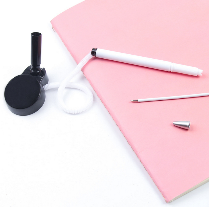 1 Pcs ballpoint counter tabletop paste fixed rope bank Black Signature Pen Wholesale price office school stationery small gift