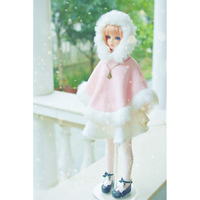 BJD Pink Cloak Mantle Outfits Clothing For 1/4 17in 44cm 1/3 24in Tall Female BJD doll MSD SD DK DZ AOD DD Doll